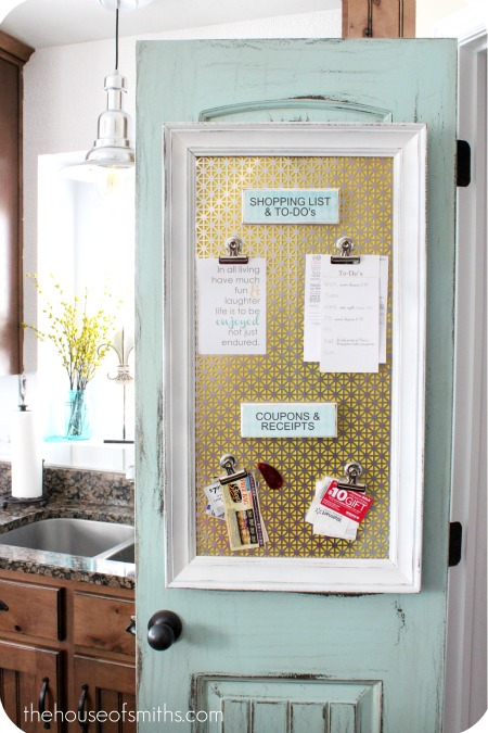 Use a piece of magnetic metal and a long vertical frame to craft this vibrant organizational board, perfect for posting your to-do lists, coupons, or recipes. Get this tutorial at The House of Smiths.