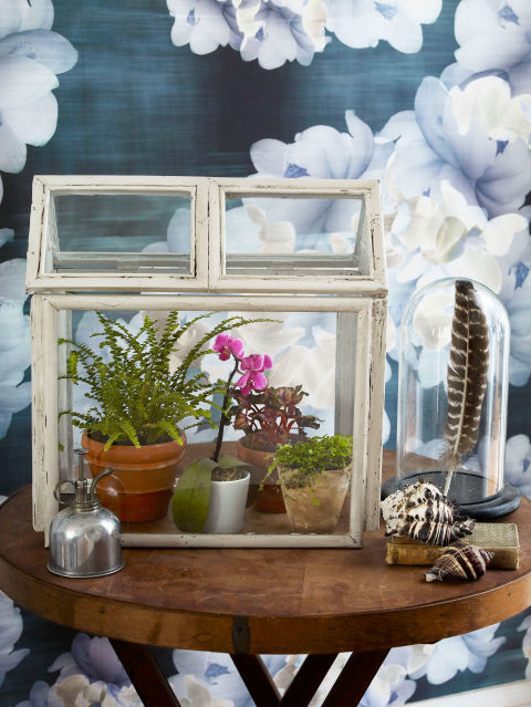 Spend a weekend putting this cute terrarium together.  Made from picture frames, the result produces a beautiful Victorian-style indoor oasis. Get the tutorial.