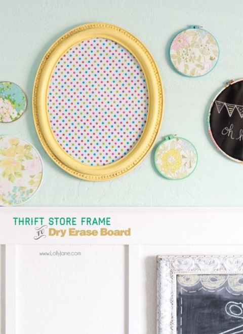Using a $7 frame, bloggers Kristi and Kelli turned a thrift-store find into the cutest dry erase board using adhesive laminate and acrylic paint. Get this tutorial at Lolly Jane.