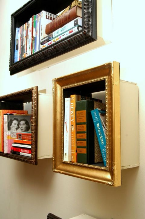 Adding wood to the backs of frames creates mini makeshift bookcases. Switch up the size and positioning of the frames, too, to create visual interest. Get the tutorial at Change of Scenery.