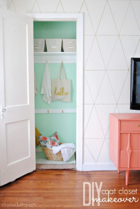 While most hallway closets are usually packed so full there's not an inch of wall to be seen, give the walls a coat of bright green paint and you'll want to show 'em off. See more at Classy Clutter »