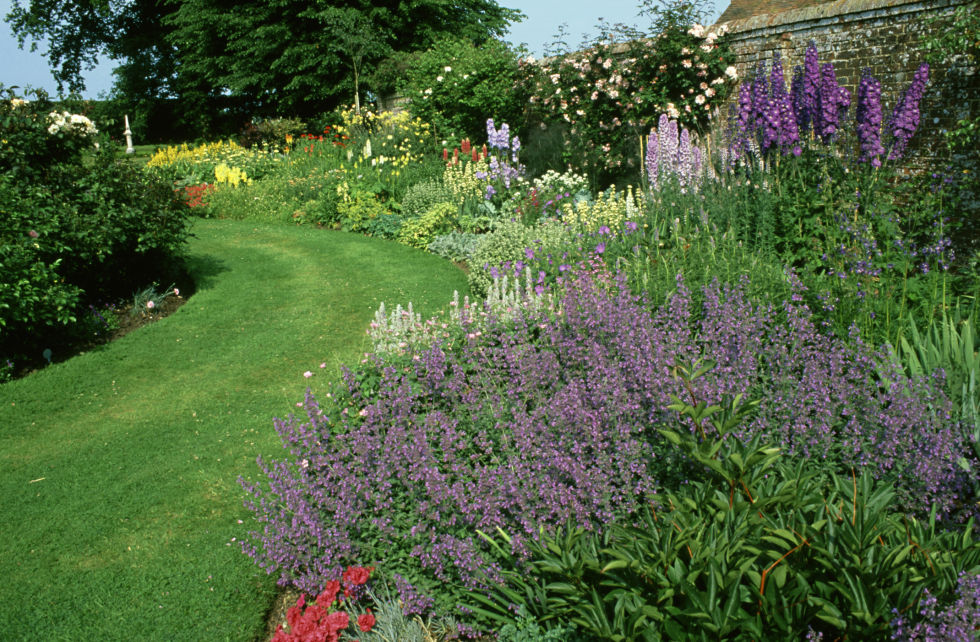 A herbaceous border of catmint, delphinium, red-hot poker, and roses covers this garden.