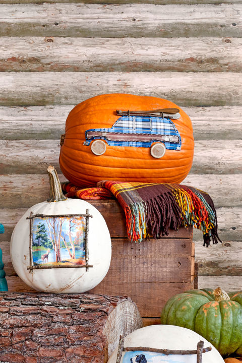 Trace the Wagoneer template on plaid fabric, scaling up or down as necessary, and cut out; attach to a pumpkin with small map tacks. Cut the wood panel from wood grain-patterned Duck Tape, and attach to the wagon. Use hot-glue to attach silver cording to the wagon to outline the windows and wood panel. Glue a small spiral of cording to create the gas cap and a zigzag to create the bumpers. Hot-glue small wood slices for the wheels and small twigs to the roof to create the roof rack. Top with a toy canoe and oars.  What you'll need: Plaid fabric ($3 for 60 inches; amazon.com), Wood grain Duck Duct Tape ($5; jet.com), Silver cording ($3 for 10 inches; papermart.com), Wood discs ($2 for 7; michaels.com)