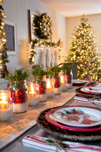 Image result for Mason Jars in a Row To craft the centerpieces for her dining room table, blogger Kristin Bergthold Used cranberries, juniper, and a layer of Epsom salt.